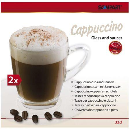 Cappuccino üvegpohár kávéscsésze készlet 2 db-os